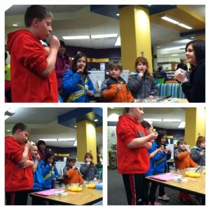 Kahoa Elementary Students sampling different varieties of oranges!
